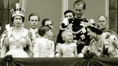 The Queen, Prince Charles, Princess Anne, the Duke of Edinburgh, the Queen Mother on the balcony