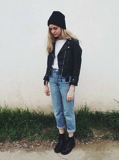 Urban Outfitters Beanie, Shirt, H&M Leather Jacket, Levi's® Levis 501, Dr. Martens Boots