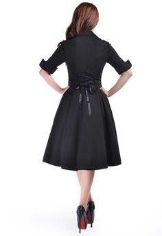 Chic Star Rockabilly Side Button Dress Black/Navy