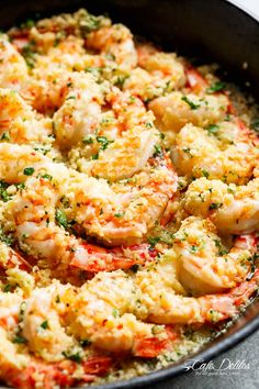Oven baked shrimp with a hint of lemon and garlic, topped with flavourful golden and buttery, garlic parmesan breadcrumbs. This Crispy Baked Shrimp Scampi is easy to make with a fancy restaurant flair right at home, and takes only minutes to prepare! Fish Recipes, Seafood Recipes, Dinner Recipes, Cooking Recipes, Healthy Recipes, Baked Shrimp Recipes, Crispy Shrimp Recipe, Shrimp Butter Sauce, Oven Shrimp