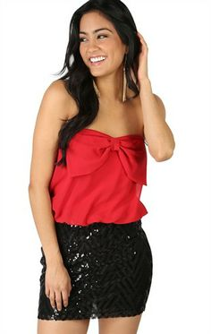 Deb Shops red chiffon strapless blouson #bow front bodice black #sequin bodycon skirt $26.17