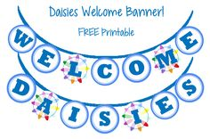 Could be used at a SU Daisy Day event. Girl Scouts: Daisies Welcome Banner FREE Printable Girl Scout Leader, Girl Scout Troop, Boy Scouts, Girl Scout Levels, Daisy Girl Scouts, Girl Scout Daisies, Investiture Ceremony, Girl Scout Activities, Welcome Banner