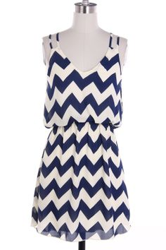 LOOK!! One left in stock!! Large. Navy chevron dress. Shop Simply Me. FREE SHIPPING with every purchase!!
