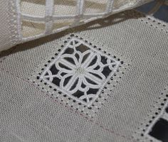 Part 8 of Lee Albrecht 's International Embroidery Exchange : Another buttonhole stitch flower, almost the same as the previous one, but m. Hardanger Embroidery, Paper Embroidery, Hand Embroidery Stitches, White Embroidery, Embroidery Patterns, Crochet Doily Patterns, Crochet Doilies, Russian Crochet, Drawn Thread