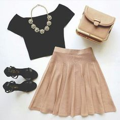 Black crop and champagne skirt