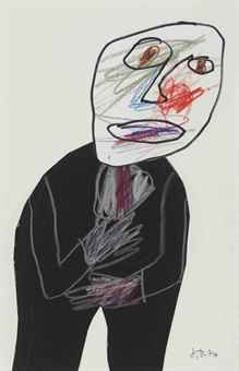 Jean Dubuffet, Portrait d'homme, 1974 | Black suit and coloured scribble |