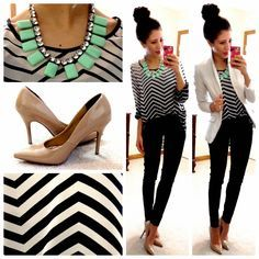 Black & White chiffon top c/o Catch Bliss Boutique // Ivory blazer // Skinny Dress Pants // Nude pointy toe pumps // Mint statement necklace Hello, Gorgeous!
