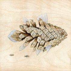 "Coelacanth Pinecone Fish, 8""x8"", acrylic on maple panel, 2013"