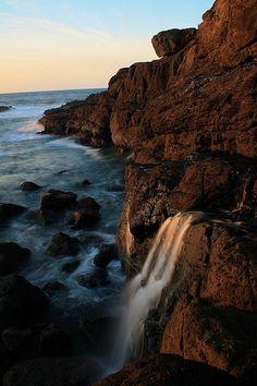 Oregon Coast - Waterfall Into The Ocean