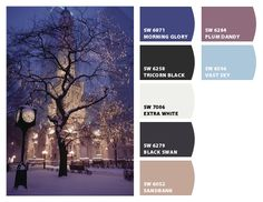 Girls room....frosty wintry winter blues and pale purples cool and cold Paint colors from #SherwinWilliams #chipit