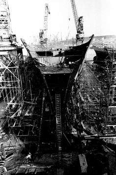 Un-named ship No 39, later named Vistafjord, is on the stocks at Swan Hunter's Neptune Yard, she is the first liner to be built at the yard for 10 years, for Norwegian Armerica Limited 28 October 1971