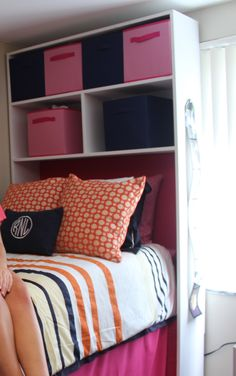 DIY Dorm Cubby with Foam Headboard. We built and painted the shelves, and inserted a fabric and foam headboard to match the bedskirt. This is a dorm at Appalachian State.