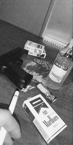 #smoking #alcohol #grunge #grey #black #blackandwhite #gun #guns #grungeaesthetic #aesthetic Gun Aesthetic, Cigarette Aesthetic, Alcohol Aesthetic, Badass Aesthetic, Bad Girl Aesthetic, Black And White Picture Wall, Black And White Pictures, Black Aesthetic Wallpaper, Aesthetic Wallpapers