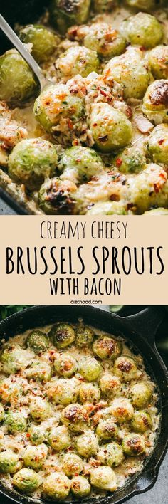Creamy Cheesy Brussels Sprouts with Bacon - Roasted brussels sprouts with crispy bacon baked in a creamy cheese sauce. #brusselssprouts #cheese #bacon #keto