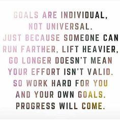 Goals are individual