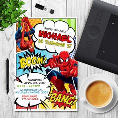This is a SPIDERMAN Birthday invitation. DETAILS: __________________ Provided to you in digital file (JPEG Format 300DPI) that will be fully customised with your information. The Size of the invitation is 4x6 The final file will send by email. I'll send your file via Etsy Convo within 24-48hr (Only workdays apply) NO PHYSICAL ITEM WILL BE SHIPPED TO YOU! You are free to print this file as many as you need. HOW TO ORDER? ___________________ 1) Add this item to cart; 2) Please write at n...
