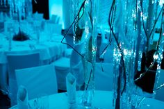 Frozen wedding reception in icy blue light. Poland by artsize.pl