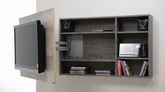 modular tv led lcd rack soporte tv mueble giratorio - TV Wall Mount Ideas for Living Room, Awesome Place of Television, nihe and chic designs, modern decorating ideasmodular tv led kabinet doe houding the kables and stuff Before acquiring a possibly expen Tv Wall Design, House Design, Wood Design, Tv Wall Cabinets, Tv Stand Designs, Muebles Living, Tv Furniture, Plywood Furniture, Wall Mounted Tv