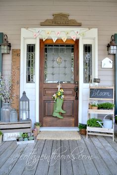 "Great Ideas for front porch spring decor ~ Cottage in the Oaks Spring Home Tour / The ""Flower Garden"" sign! Country Porches, Cottage Front Porches, Small Front Porches, Decks And Porches, Diy Porch, Porch Ideas, Patio Ideas, Summer Porch, House With Porch"