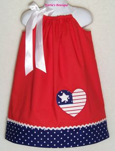 Patriotic Pillowcase Dress / Red, White & Blue / Flag Heart / USA / of July / Infant / Toddler / Baby / Girl / Custom Boutique Clothing 4th Of July Dresses, 4th Of July Outfits, Pillowcase Dress Pattern, Pillowcase Dresses, Toddler Outfits, Kids Outfits, Cute Outfits, Sewing For Kids, Baby Sewing