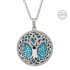 The sacred Celtic symbol of the Tree of Life comes alive in this remarkable pendant. Created out of polished sterling silver, the roots and branches of the tree are woven together on this circle necklace, which is artfully encrusted with Swarovski® crystals.
