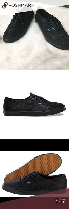 VANS Glitter Textile Shoes If you've an eye for shiny things, then the Vans Authentic Lo Pro (Glitter Textile) Black/Black are the shoes for you! The pictures don't do justice to the shoe itself. The low profile black on black design is accented by a distinctive glitter flake woven into the canvas. A contoured sole allows for added flexibility in the footbed, while maintaining the integrity found in conventional Vans! Brand new with box. Box does not contain lid. Vans Shoes Sneakers
