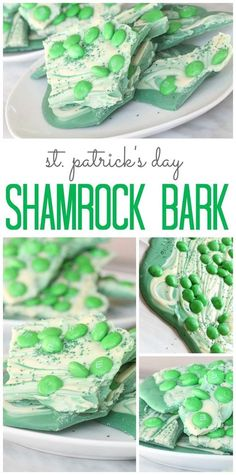 This Shamrock Bark Recipe via Passion for Savings only requires 3 ingredients, it's SUPER Easy to make and the Kids will EAT IT UP! It's perfect for St. Patricks Day Parties and Treats. #easystpatricksdaydesserts #stpatricksday #stpatricksdayparty #stpatricksdaypartyfood #lucky #luckygreen #luckytreats #shamrocks #clovers #rainbowtreats #leprechantreats