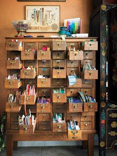 Using an Old Card Catalogue for Art Supplies! (from Dwell)