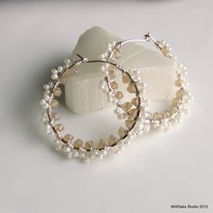 Lacy Pearly Hoops Pearlized Glass Beads Crystals by WillOaksStudio, $47.00