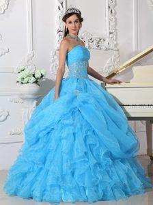 aqua Blue Ruffles Organza Appliques Quinceanera Gown in Farnborough - Magic Quinceanera