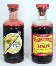 Waterman Fountain Pen Ink Bottles Red (2) 8 oz v0755 USA Vintage