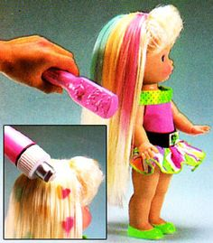 Li'l Miss Magic Hair had hair that changed colors and you could even make designs in her hair.