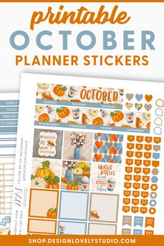 Grab these FALL Planner Stickers for Erin Condren! #erincondrenplannerstickers #fallplannerstickers Erin Condren Life Planner, Monthly Planner, Happy Planner, Printable Planner Stickers, Printables, Planner Layout, Sticker Shop, Kit, Planners