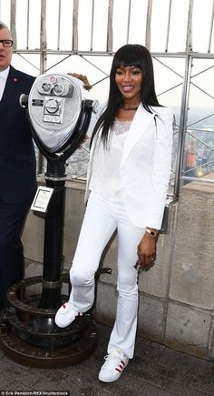 Caring: The runway diva visited the Empire State Building to promote the upcoming US version of Red Nose Day