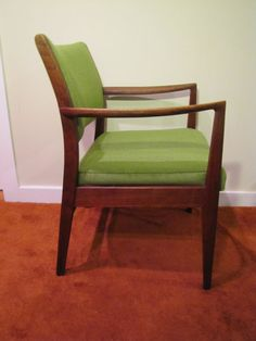 Mid Century Modern Arm Chair by Taylor Chair Company, Green Fabric Upholstery, Retro Arm Chair, Office Chair, Lounge Chair, MCM Chair