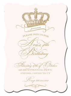Princess Invitation . Princess Crown Collection . by Loralee Lewis