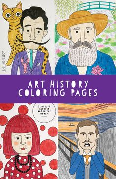 Art History Coloring Pages for kids (Dali, Monet, Yayoi, Munch and more) - Elwira Blount Art History Timeline, Art History Lessons, Art Lessons For Kids, Art Lessons Elementary, Art For Kids, Famous Artists For Kids, Famous Artists Paintings, Frida Art, Small Canvas Art