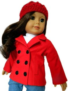 American Girl Doll Clothes Red Cotton Piccadilly by 18Boutique