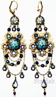 Michal Negrin Antique Style Cameos Crystal Earrings | eBay