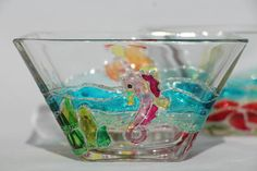 Hand painted glass bowl with coral reef di PapillonGlassArts