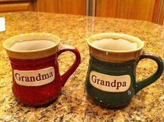 This will be their first grandbaby, so we told Mac's parents by giving them these mugs with ASU (for Grandma) and UofA (for Grandpa) onesies stuffed inside. (didn't get a picture of the onesies - but they are cute!)