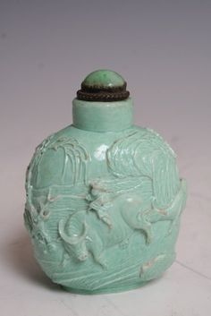 19/20Th C Chinese Turquoise Perfume Bottle with water bison and with boy.