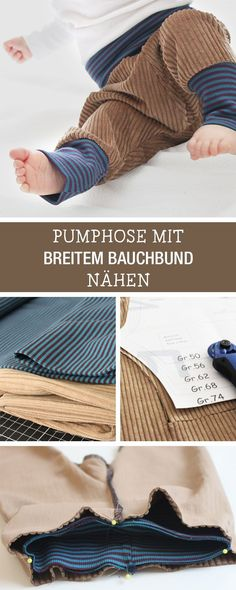 DIY-Anleitung: bequeme Pumphose mit breitem Bauchbund für Babys nähen, Kinderoutfit / DIY tutorial: sewing handy baggy trousers with wide belly band for babies, children's outfit via http://DaWanda.com