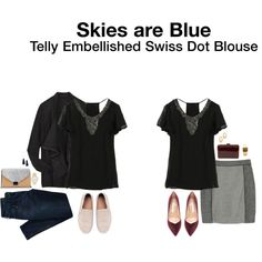 """Telly Embellished Swiss Dot Blouse"""