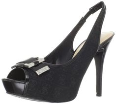 Guess Women's Bixham2 Slingback Pump,Black Multi Fabric,10 M US | nflveteranshoesshop