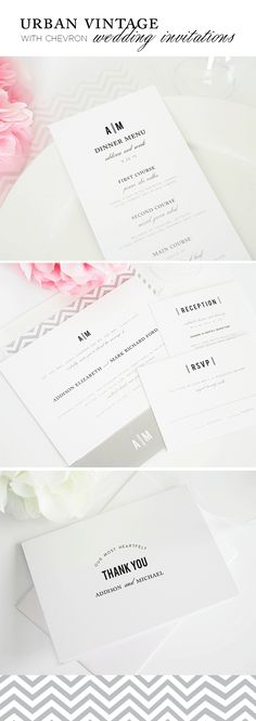 Vintage Wedding Invitations with Chevron Envelope Liner