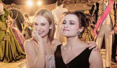 "Lily James & Helena Bonham Carter (Cinderella & The Fairy Godmother) - at the Berlin Film Festival premiere of ""Cinderella""."