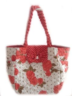 Red Roses White Quilt Handbag 100% Cotton Purses « Holiday Adds