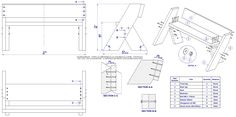 Aldo Leopold bench plan - Assembly drawing and parts list