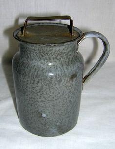 Old Antique Small Gray Graniteware Cream Can Enamel Ware Unusual Cover | eBay